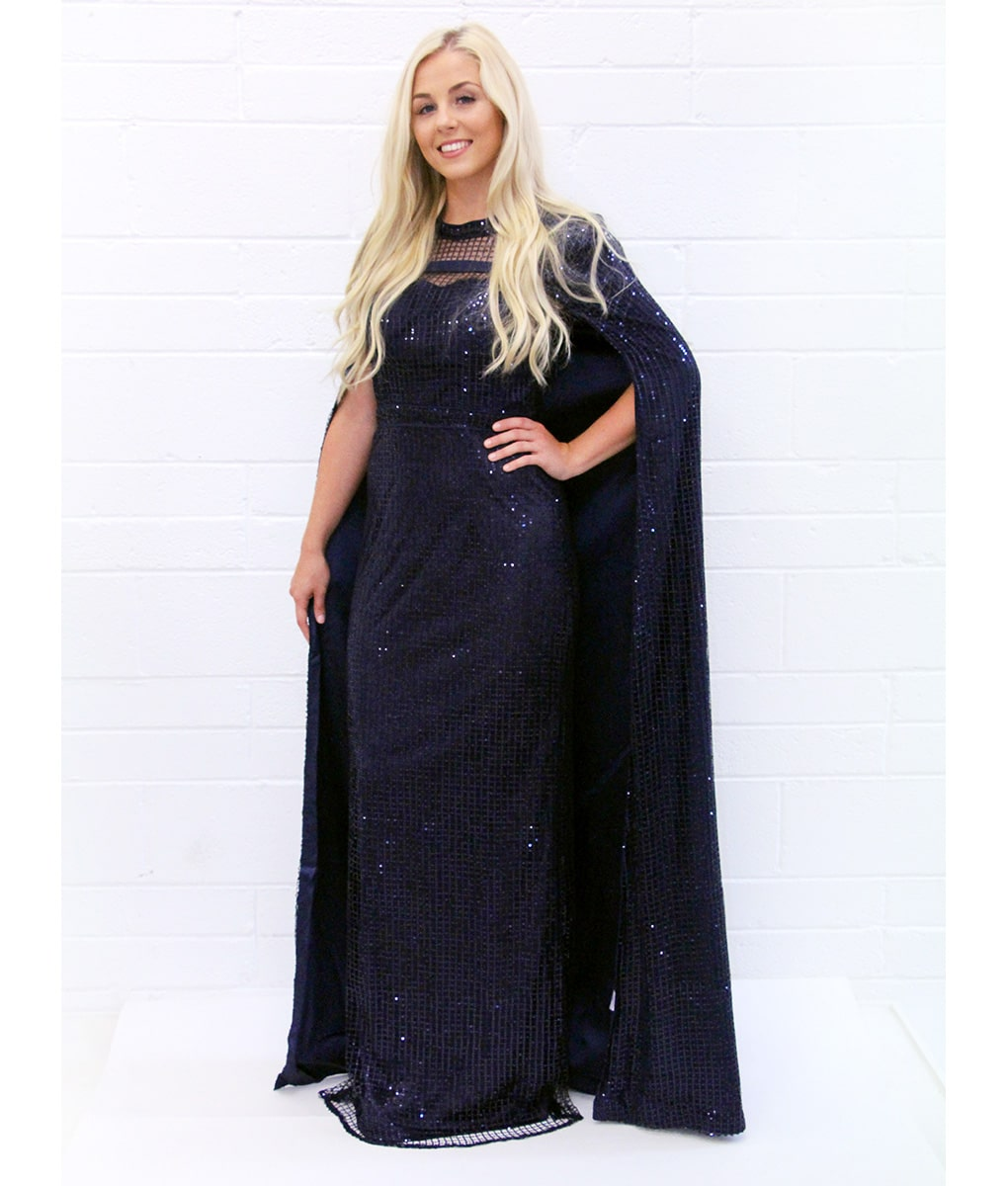 Bariano - Navy Sequins Cape Gown | Alila Boutique