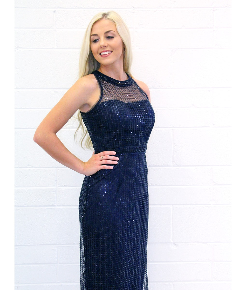 Alila-Navy-Sequin-Gown-Bariano
