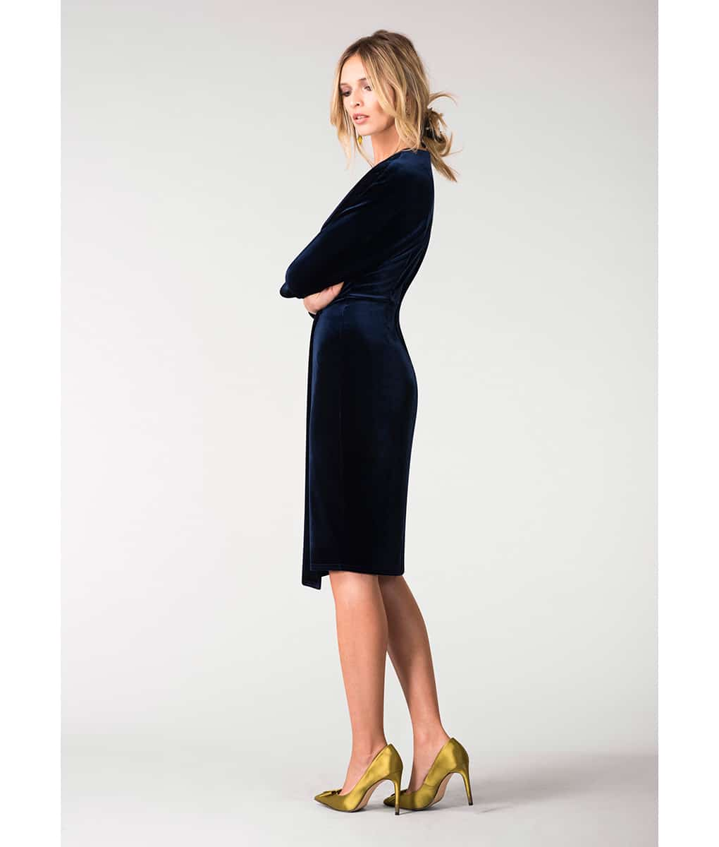 Alila-Navy-Velvet-plunge-neck-dress-with-sleeves-by-Closet-London
