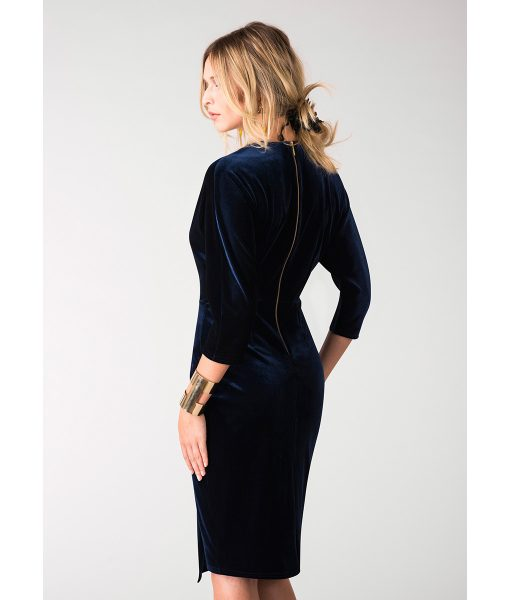 Alila-Navy-Velvet-plunge-neck-midi-dress-by-Closet-London