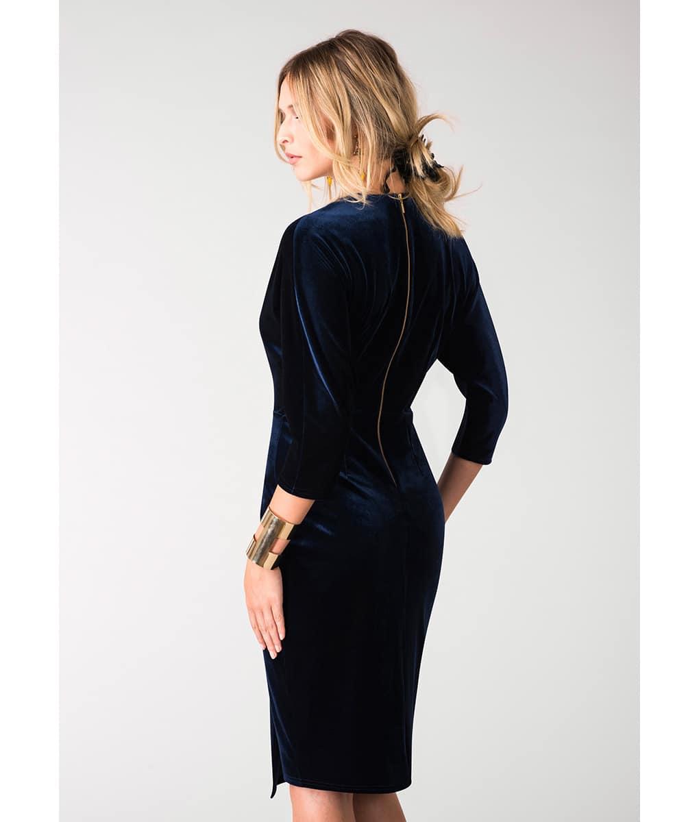 Alila-Navy-Velvet-plunge-neck-midi-dress-by-Closet-London