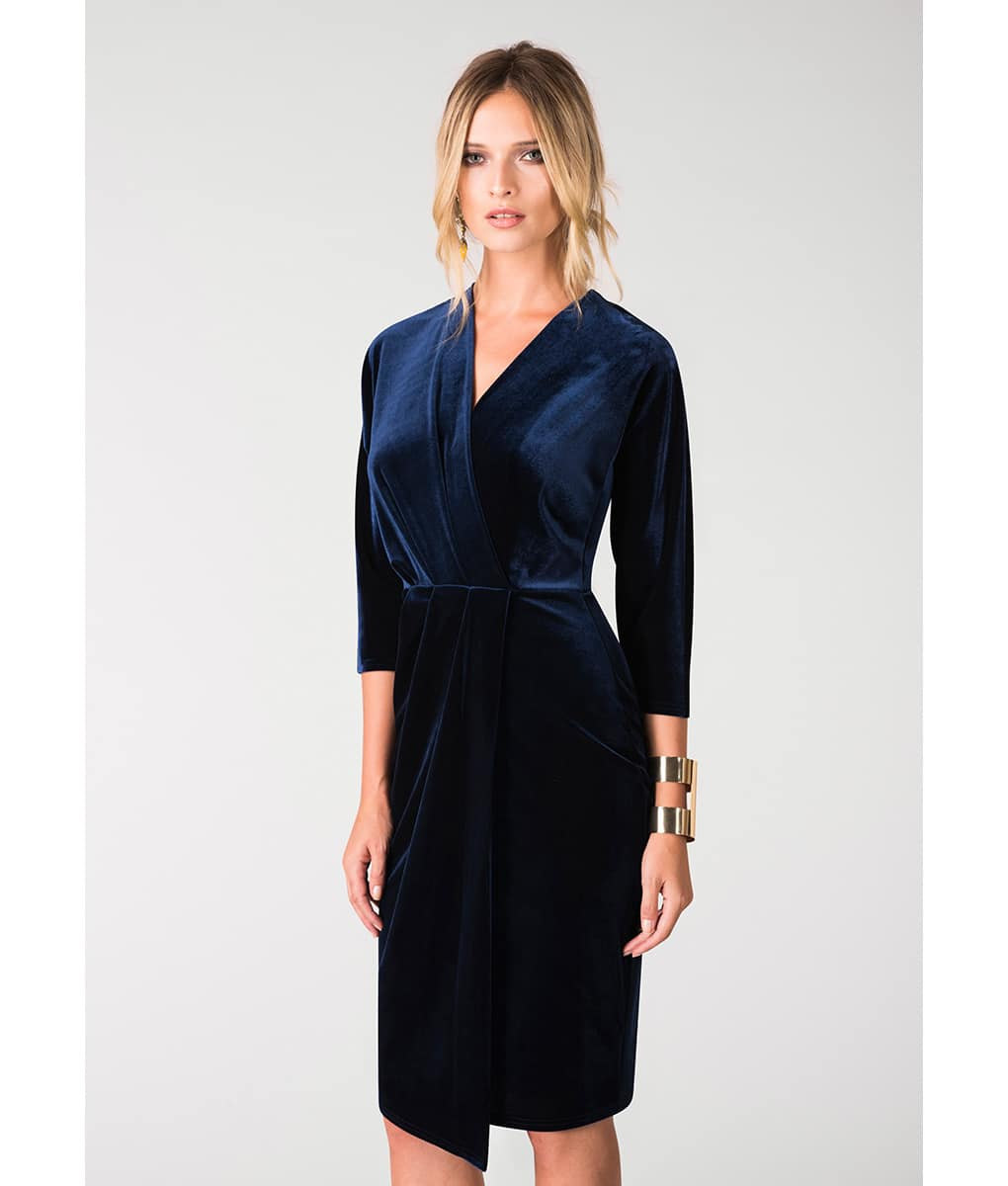 Closet London Navy Velvet Wrap Alila