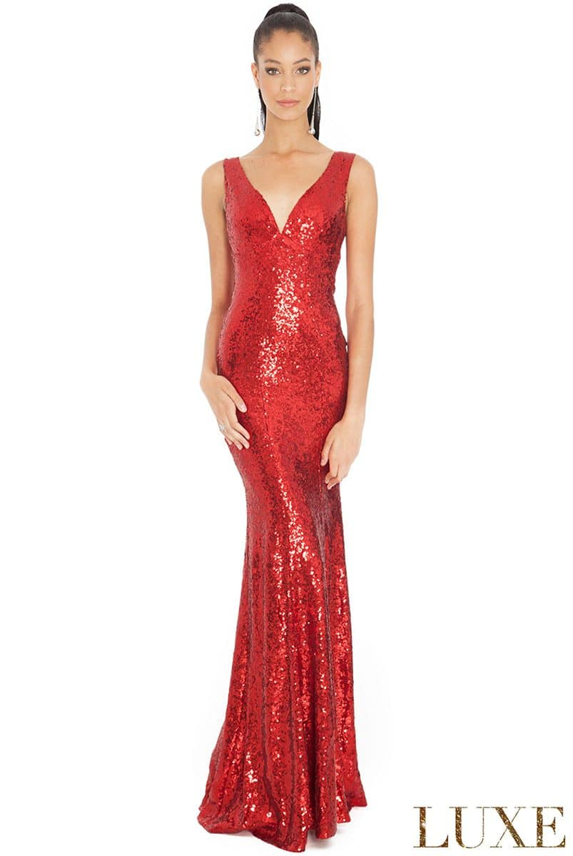 City Goddess - Red Sequin V Neck Gown | Alila Boutique