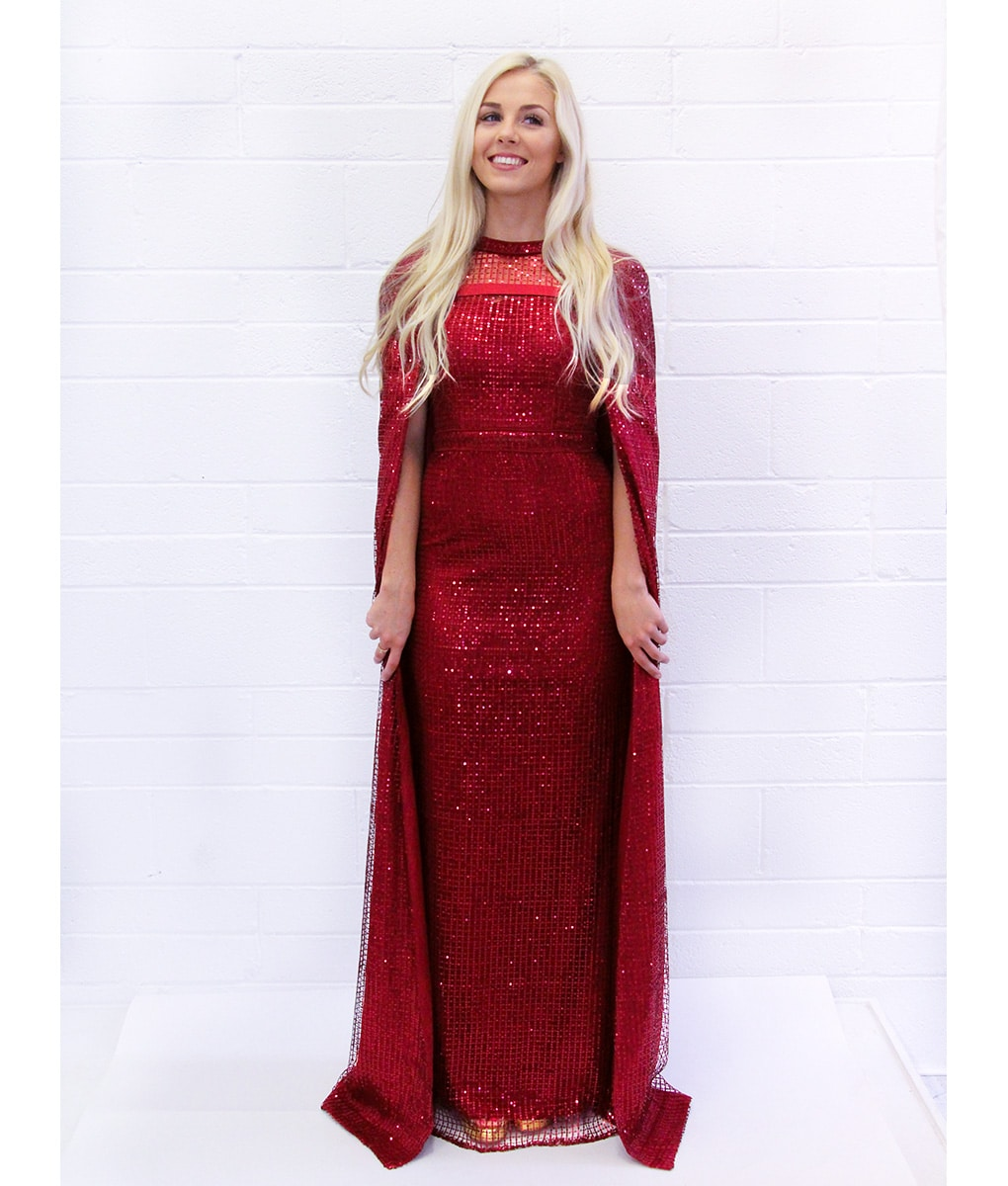 Alila-burgundy-red-sequin-cape-gown-Bariano