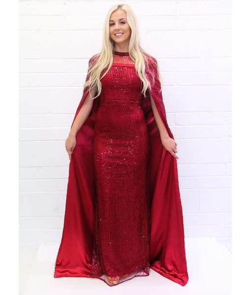 Alila-red-sequin-cape-gown-Bariano