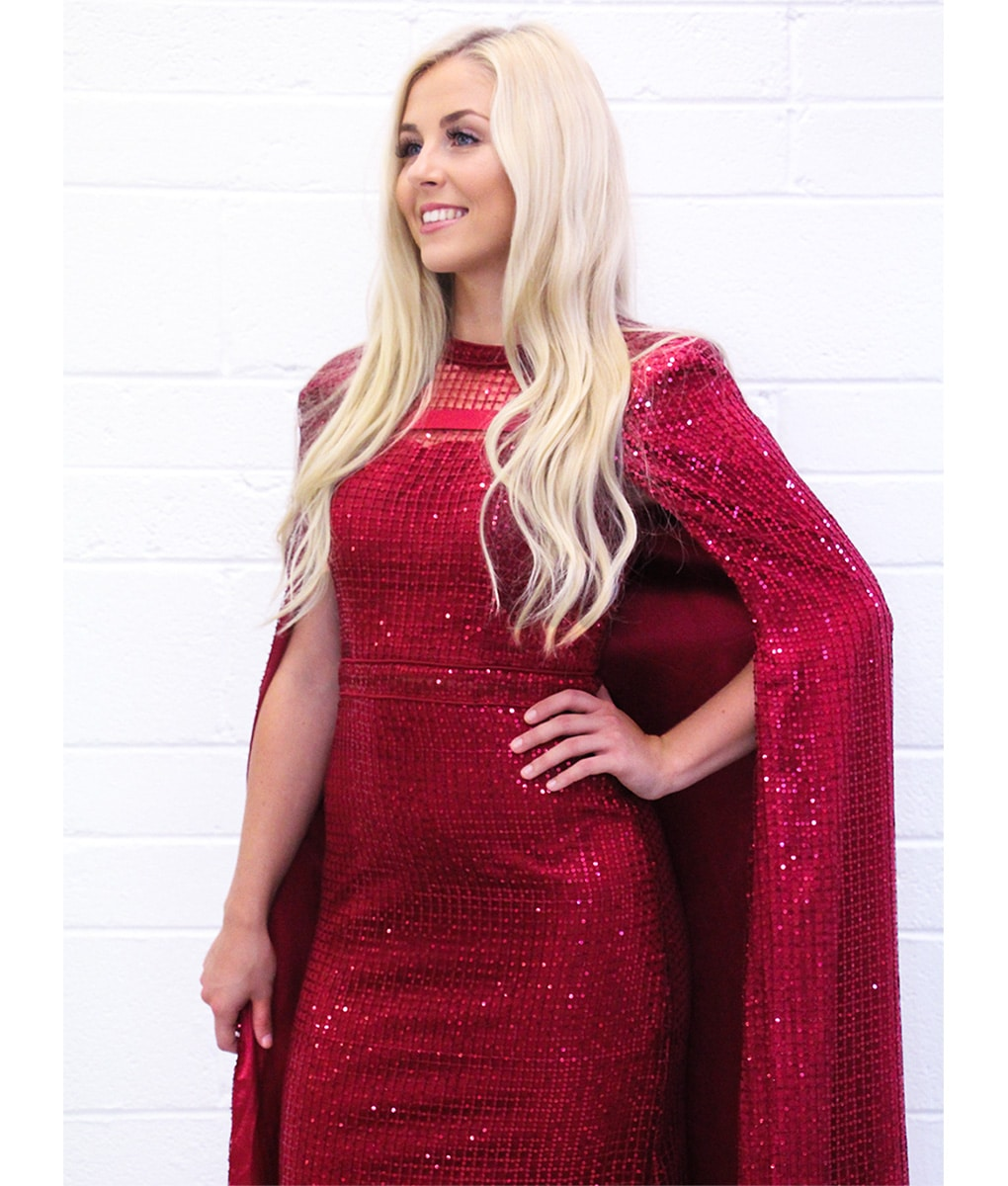 Alila-red-wine-sequin-cape-gown-detail-Bariano