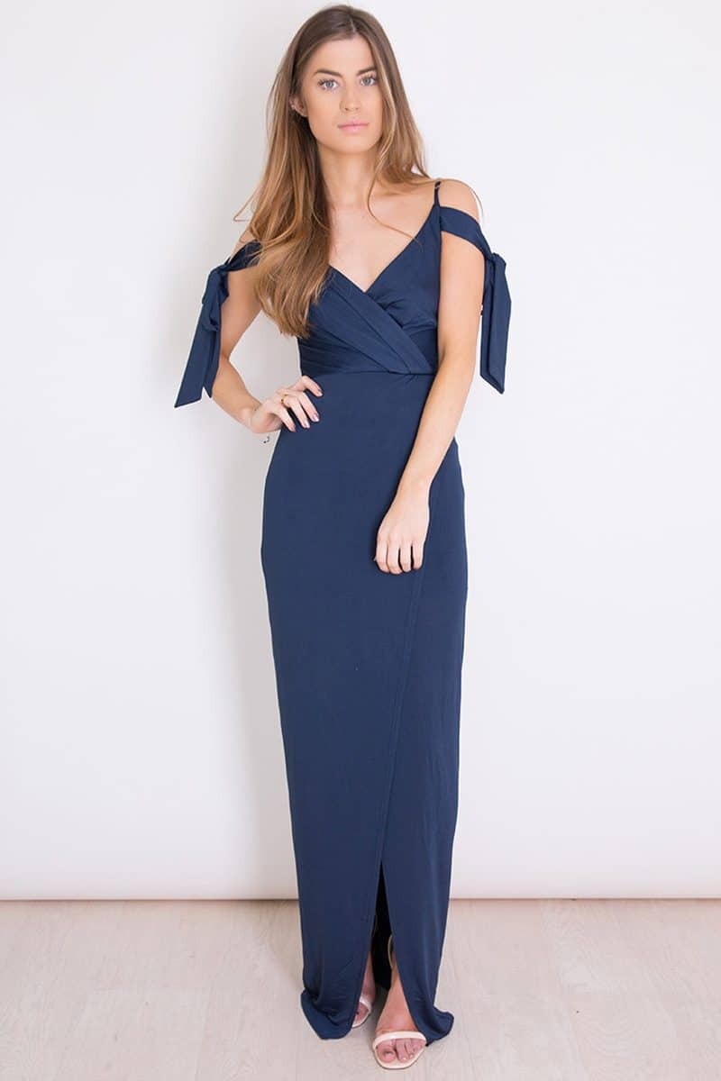 Alila-Cold-Shoulder-Navy-satin-jersey-bridesmaid-dress-Girl-in-Mind