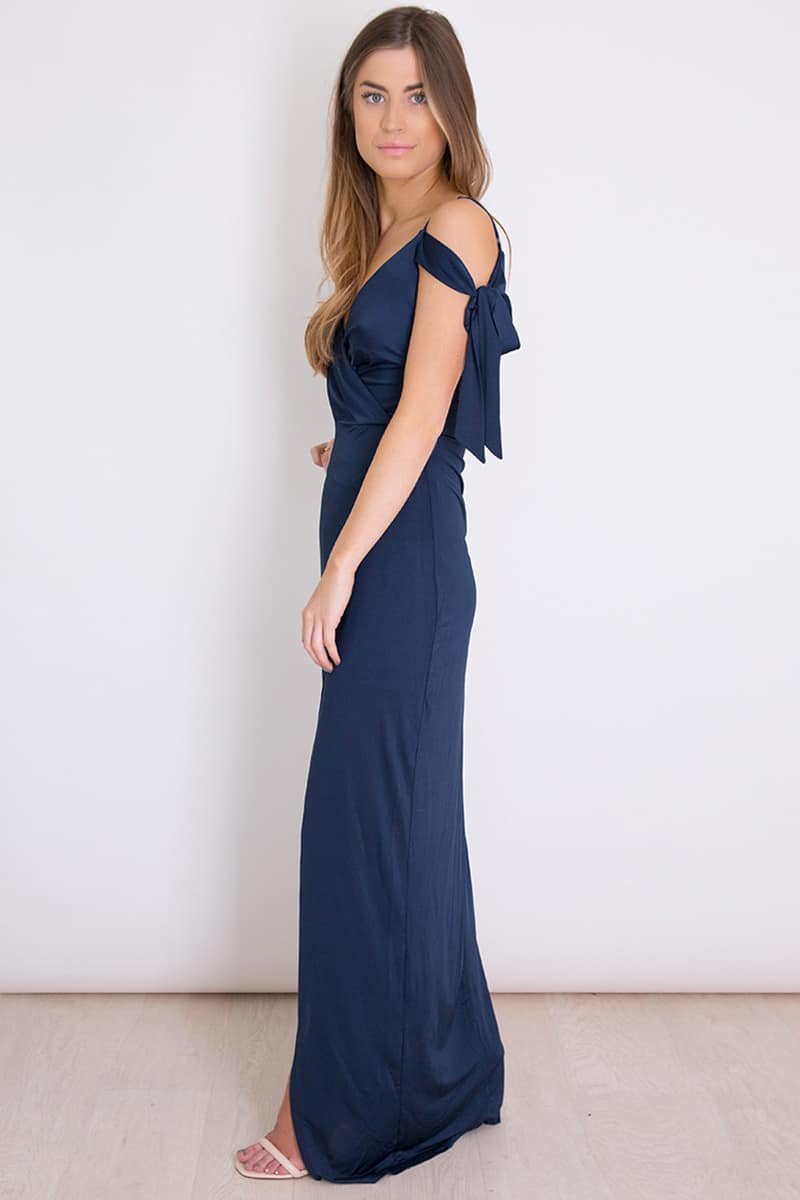 Alila Navy Cold Shoulder Gown Girl In Mind