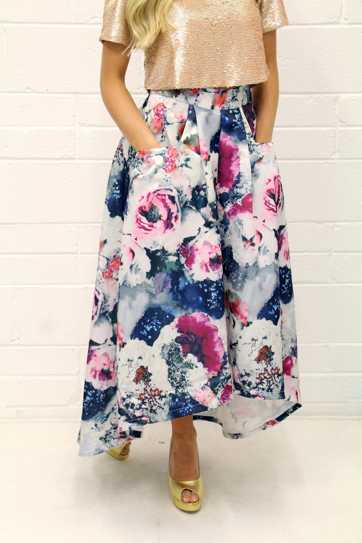 Jolie moi pink floral dipped hem skirt alila boutique alila floral skirt jolie moi mightylinksfo