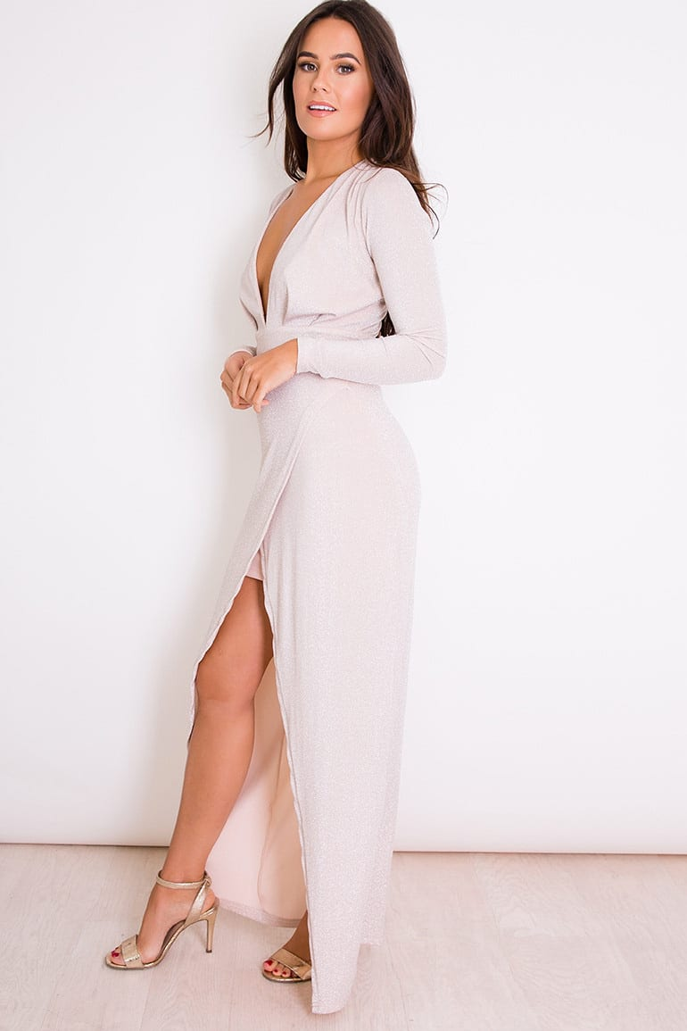 Alila-Pearl-lurex-jersey-long-sleeve-plunge-maxi-dress-Girl-in-Mind