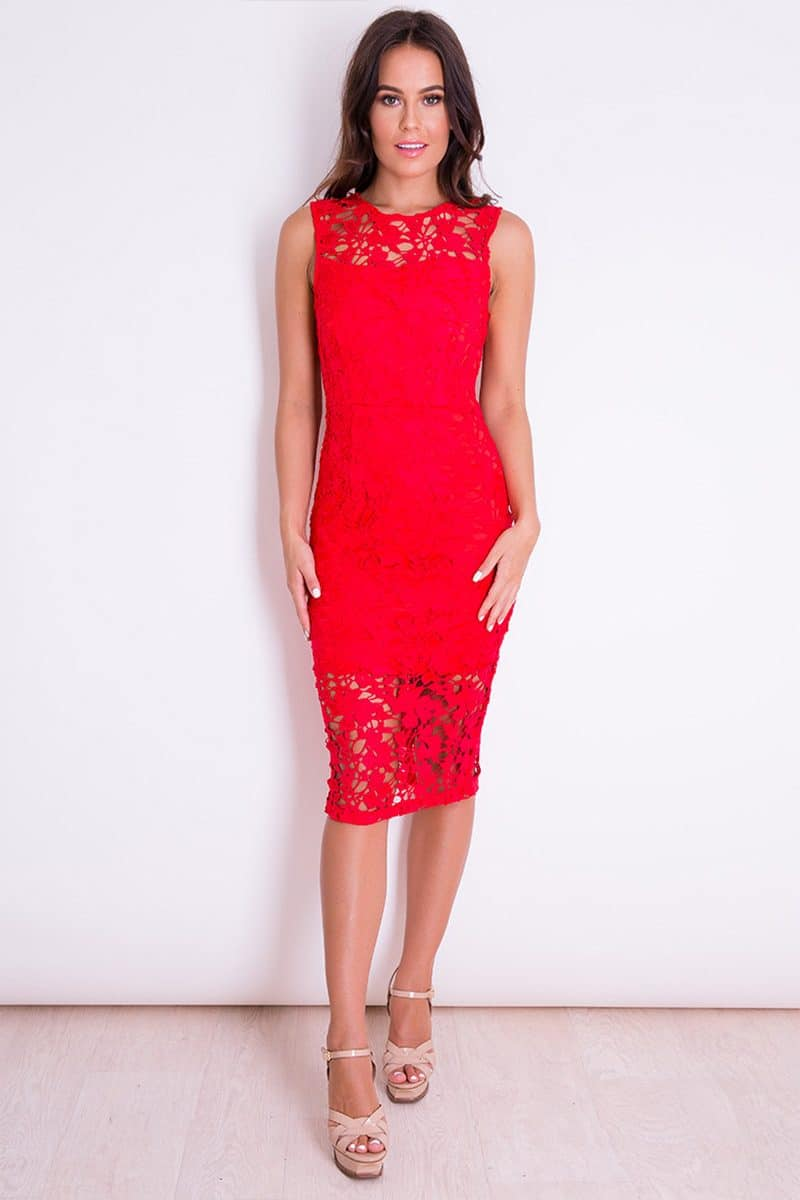 Alila Red Lace Midi Illusion Dress Girl In Mind
