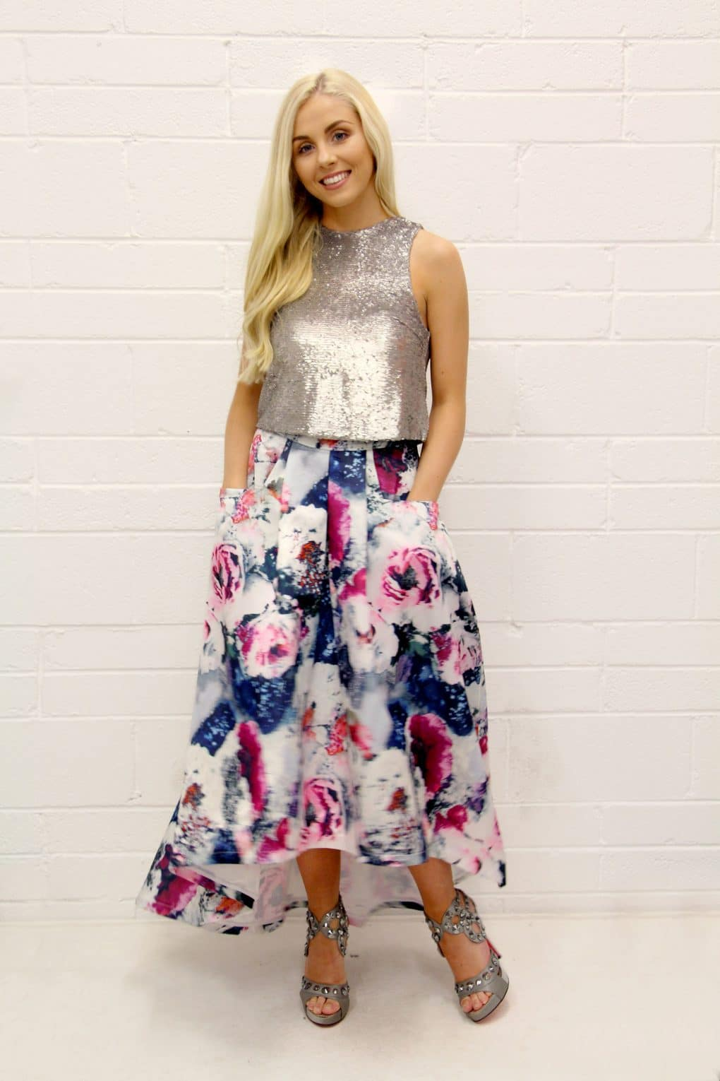 Alila-Silver-Crop-Top-Angeleye-Floral-Skirt-Jolie-Moi-Shoes