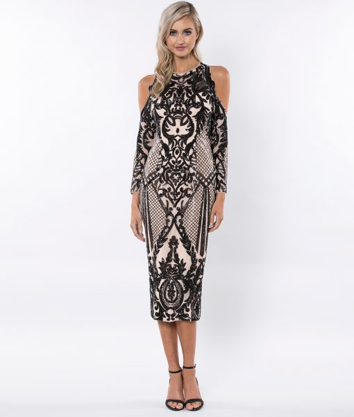 Alila-Black-Sequin-cold-shoulder-midi-Christmas-party-dress-Bariano