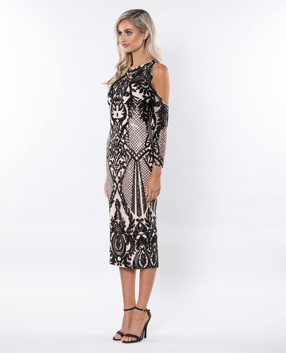 Alila-Black-Sequin-print-cold-shoulder-midi-Christmas-party-dress-Bariano
