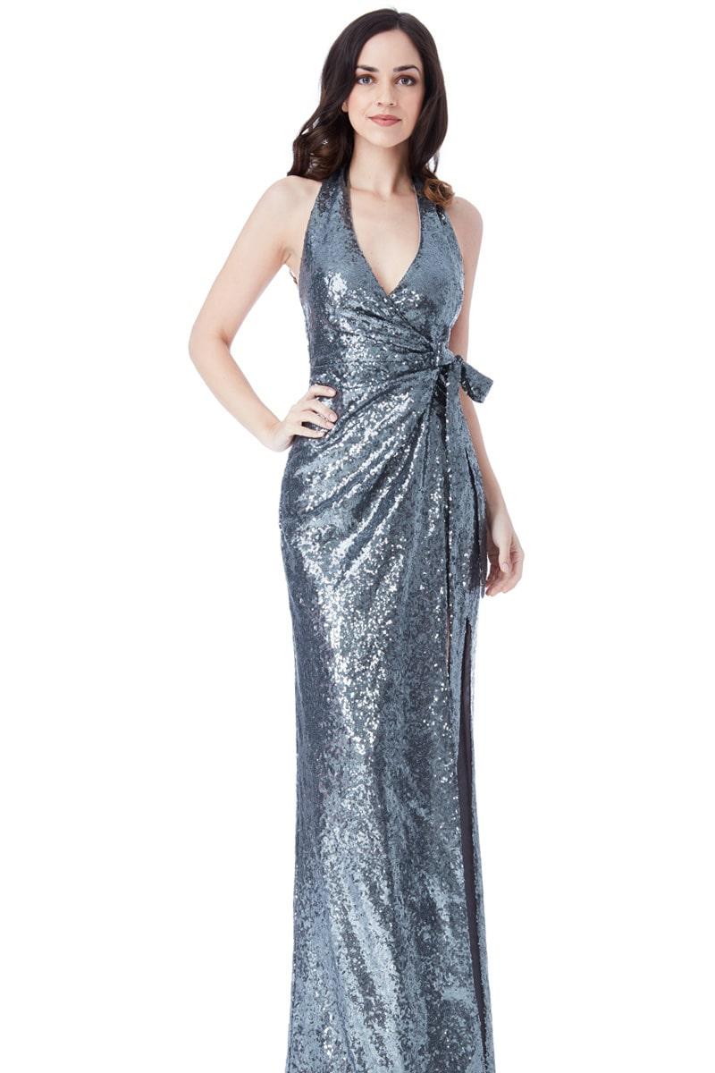 City Goddess Gunmetal Grey Sequins Halter Gown | Alila