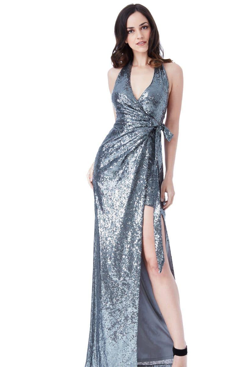 City Goddess Gunmetal Grey Sequins Halter Gown Alila