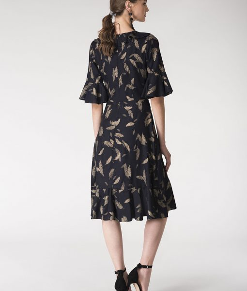 Alila-Navy-gold-feather-print-ruffle-dress-Closet