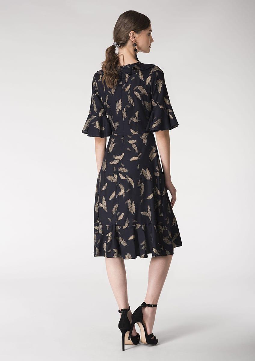 Alila-Navy-gold-feather-print-ruffle-dress-Closet
