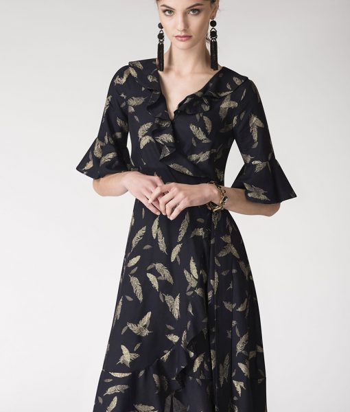 Alila-Navy-gold-feather-print-wrap-dress-Closet