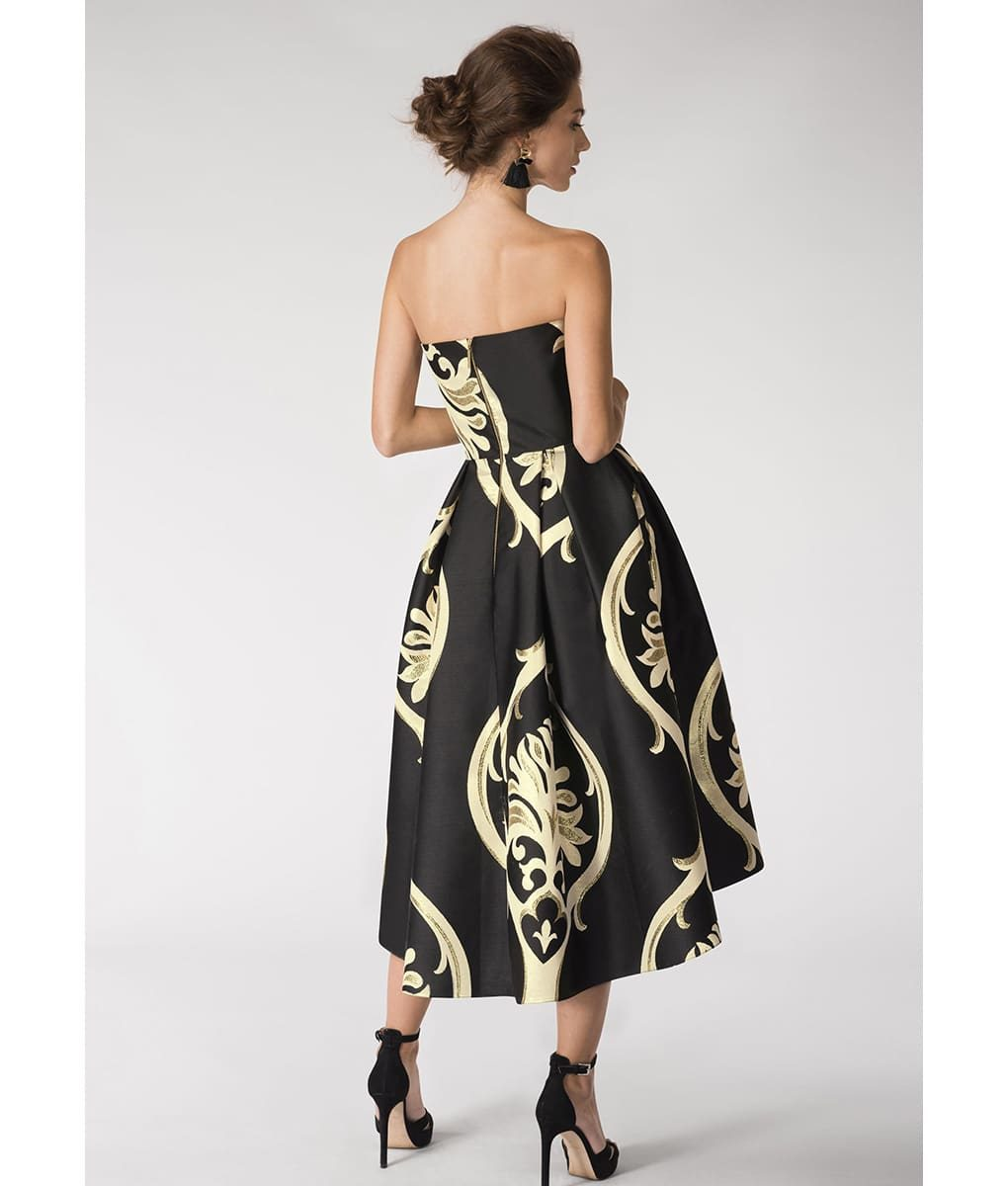 Alila-Strapless-brocade-black-and-gold-dress-Closet-London