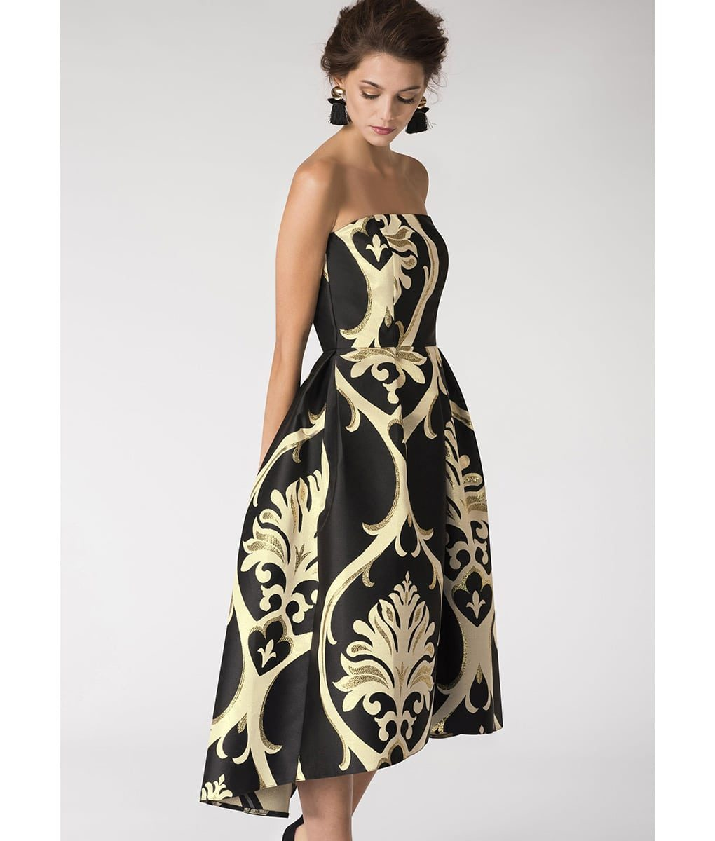Alila-Strapless-brocade-black-and-gold-evening-dress-Closet-London