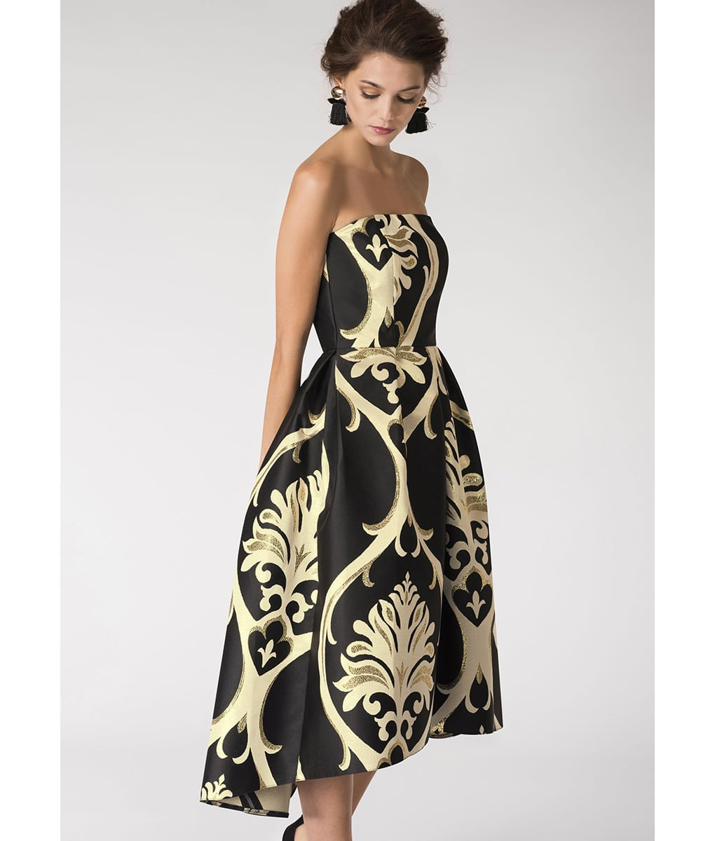 Closet London Black & Gold Strapless Midi | Alila Boutique