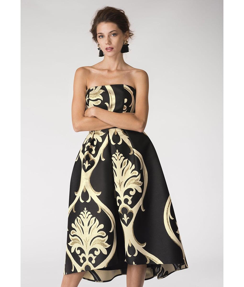 Alila-Strapless-brocade-black-and-gold-evening-dress-Closet-London