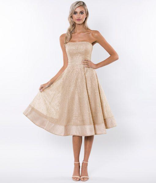 Alila-Gold-Strapless-glitter-prom-SKATER-dress-Bariano
