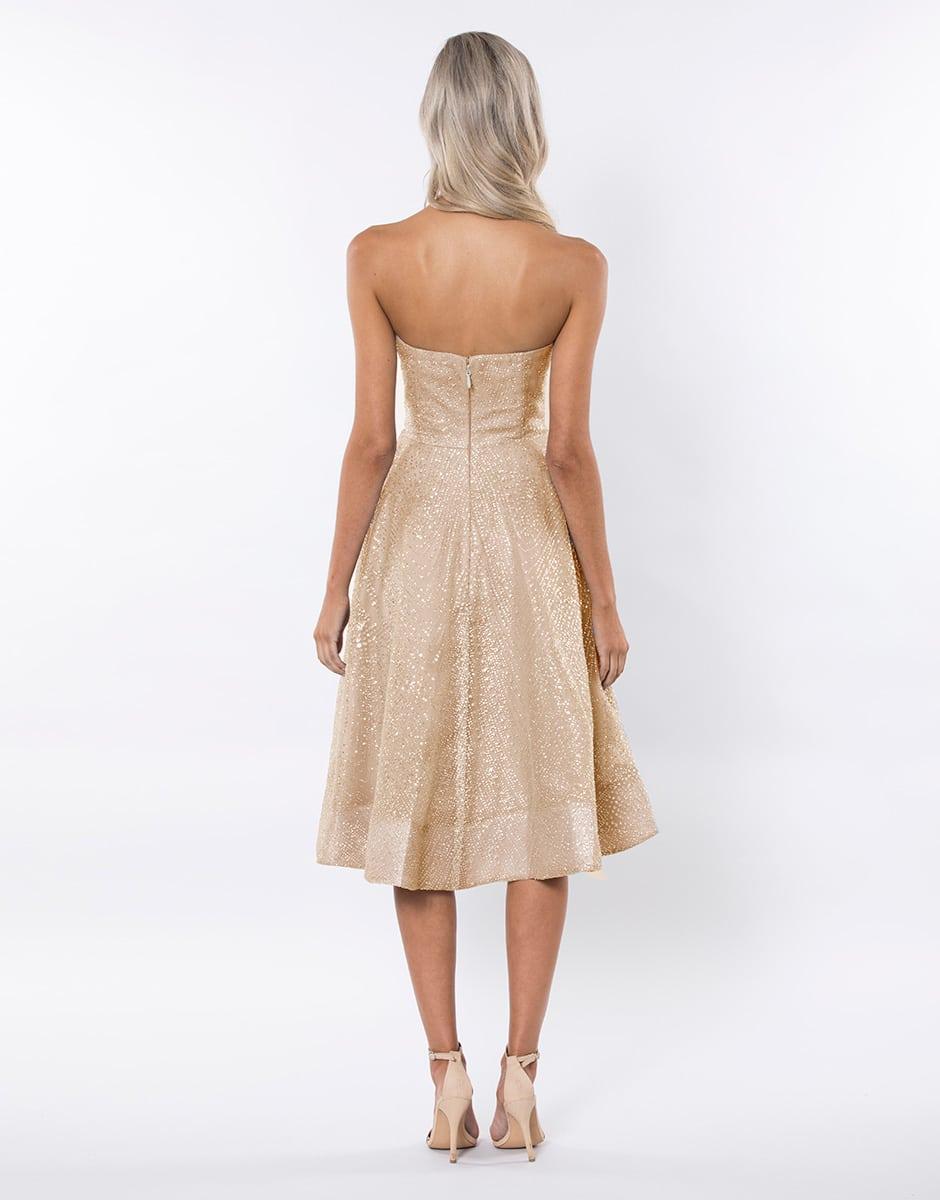 Bariano Gold Embellished Strapless Skater Dress Alila