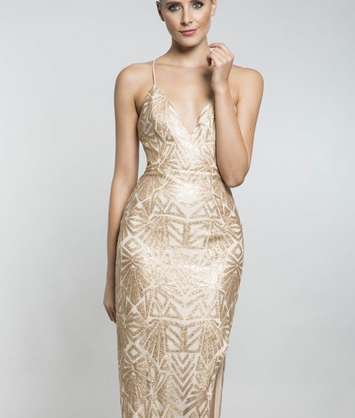 Alila-Gold-sequin-strappy-maxi-dress-with-slit-Lumier