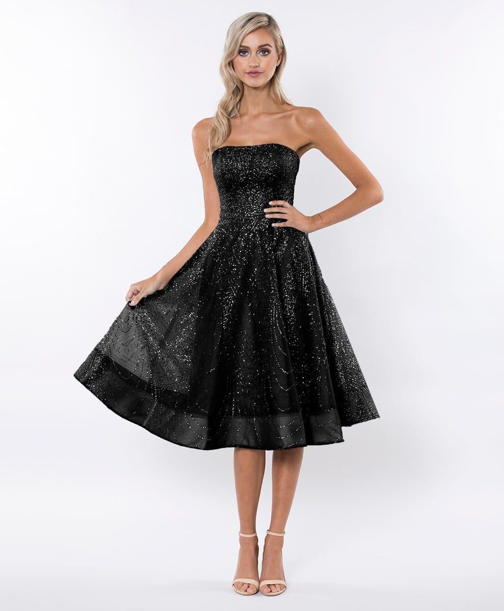 Alila-black-Strapless-glitter-prom-SKATER-dress-Bariano
