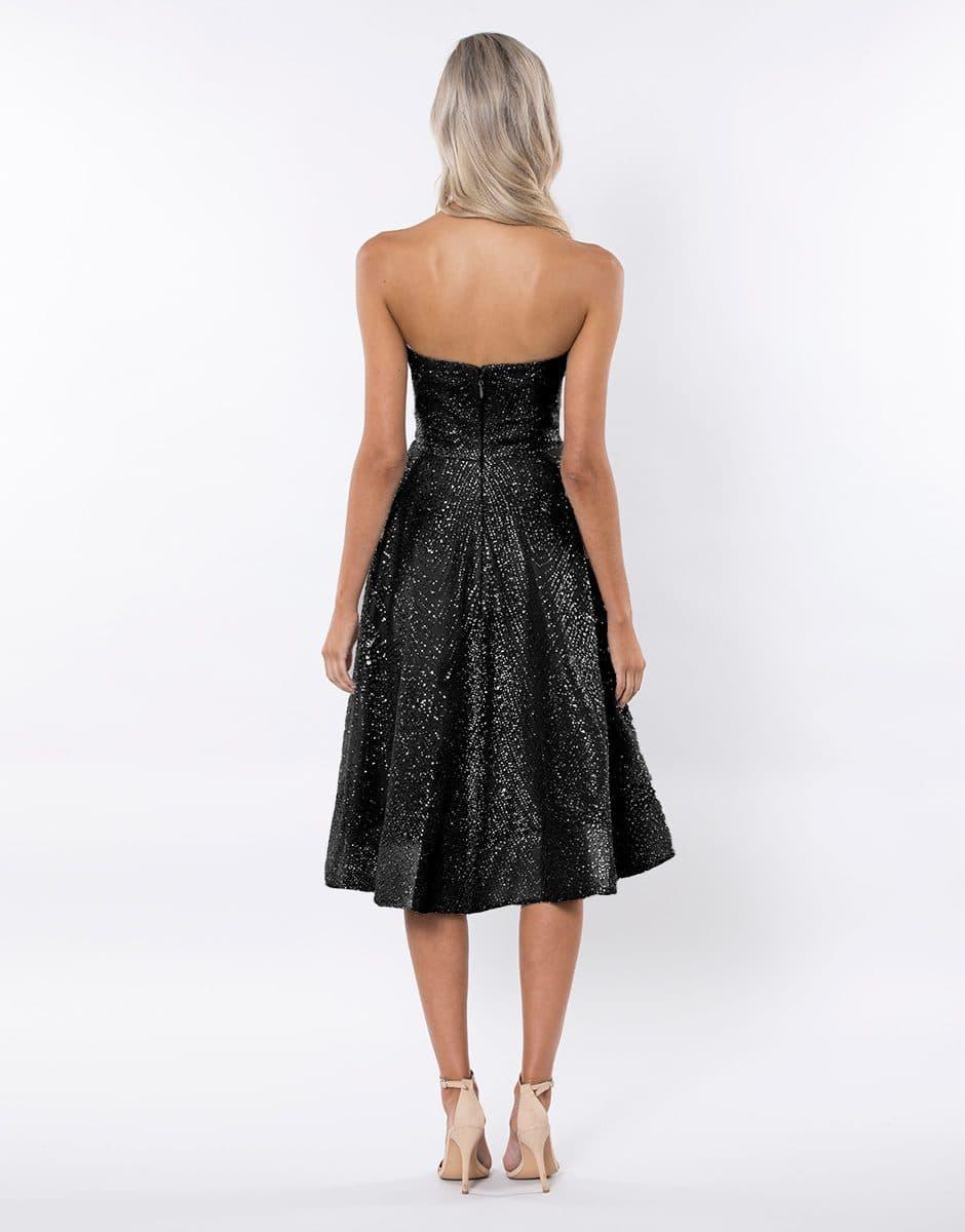 Alila-black-Strapless-glitter-prom-SKATER-dress-Bariano-BACK