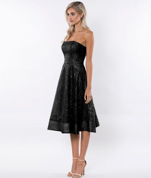 Alila-black-Strapless-glitter-prom-dress-Bariano