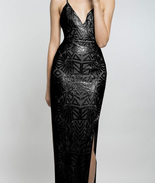 Alila-black-sequin-strappy-maxi-with-slit-Lumier
