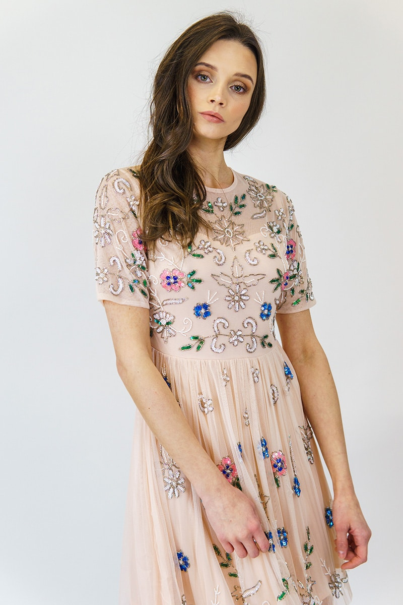 ALILA-Pink-pretty-beaded-cap-sleeve-races-dress-angeleye