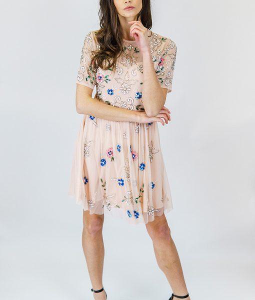 ALILA-Pink-pretty-beaded-cap-sleeve-races-dress-angeleye