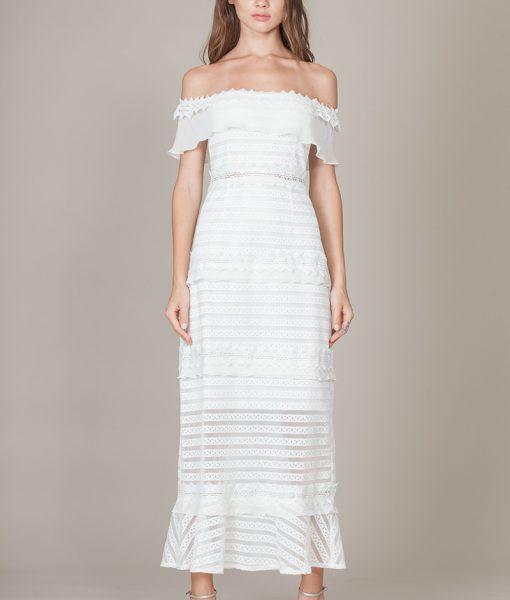Alila-Bardot-off-the-shoulder-cream-midi-dress-Foxiedox