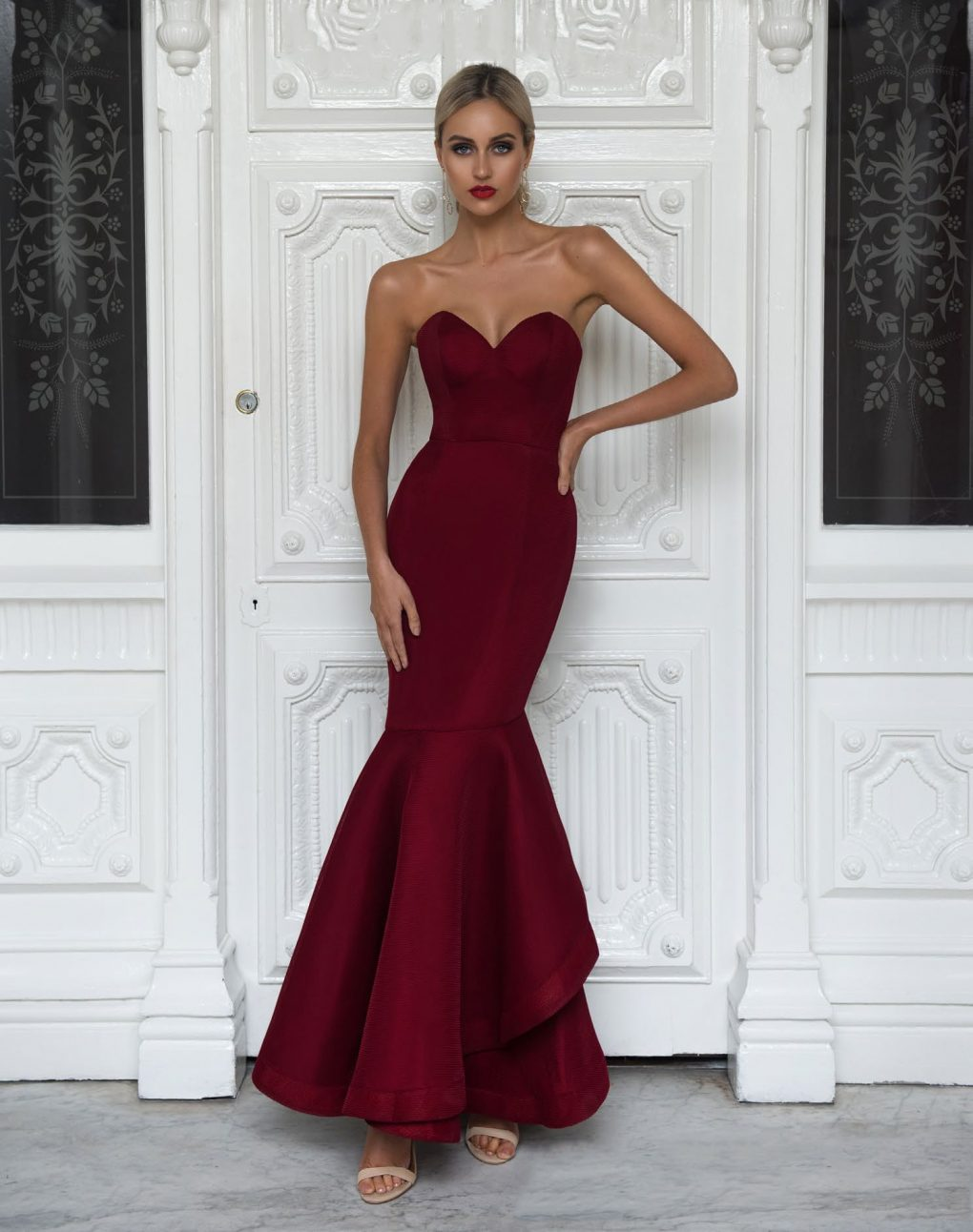 Alila-Strapless-fishtail-burgundy-debs-dress-Bariano