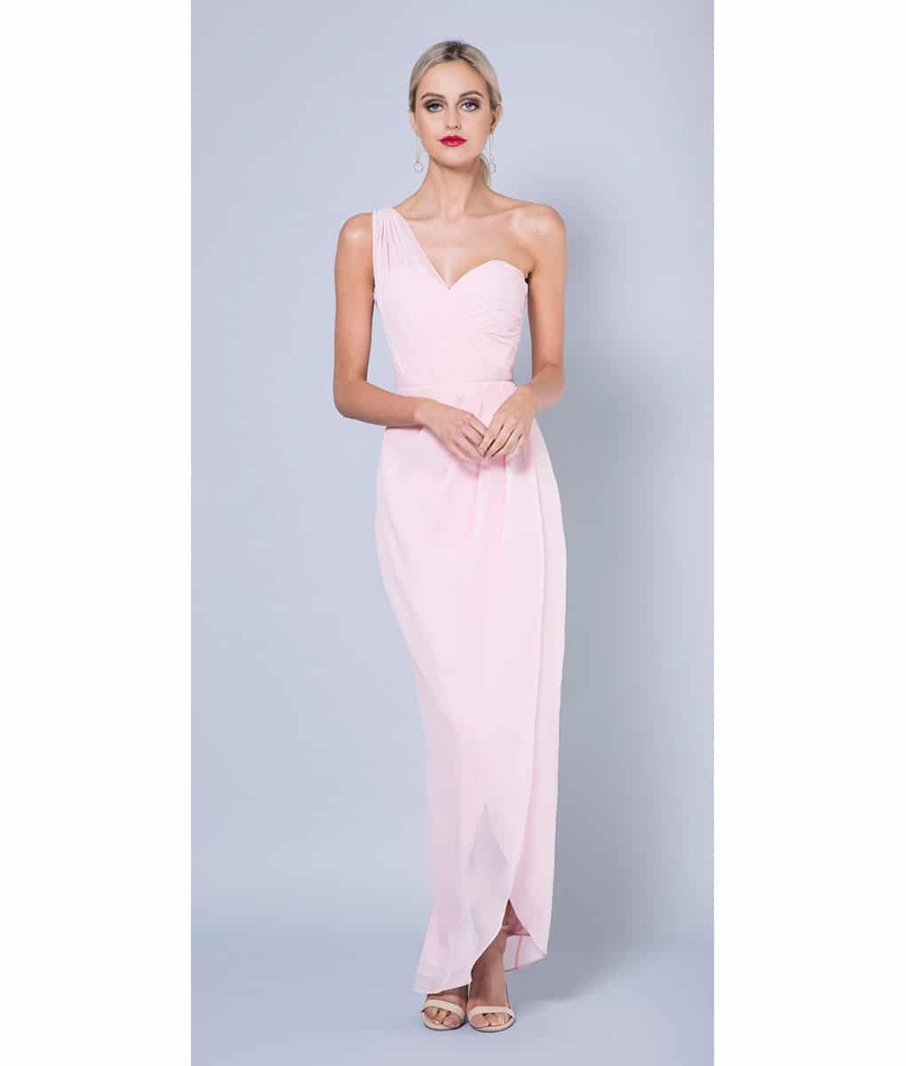 Bariano blush pink one shouldered gown alila boutique alila blush pink chiffon bridesmaid dress bariano ombrellifo Image collections