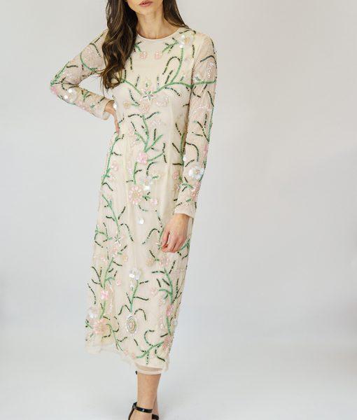 Alila-Cream-beaded-long-sleeve-midi-dress-for-wedding-Angeleye