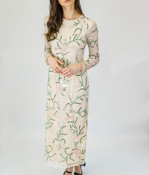 Alila-Cream-beaded-long-sleeve-midi-dress-for-wedding-guest-Angeleye