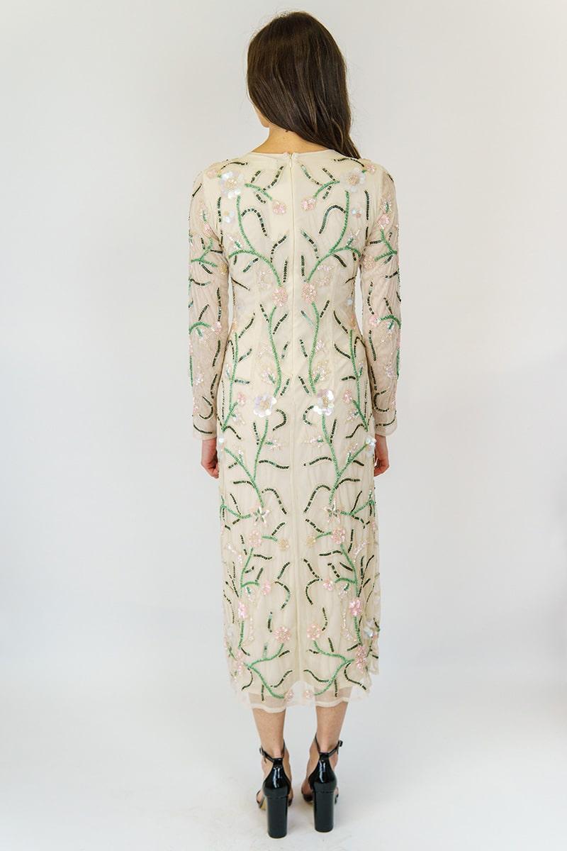eb3a8391cc28cb AngelEye Nude Embellished Midi Dress | Alila Boutique
