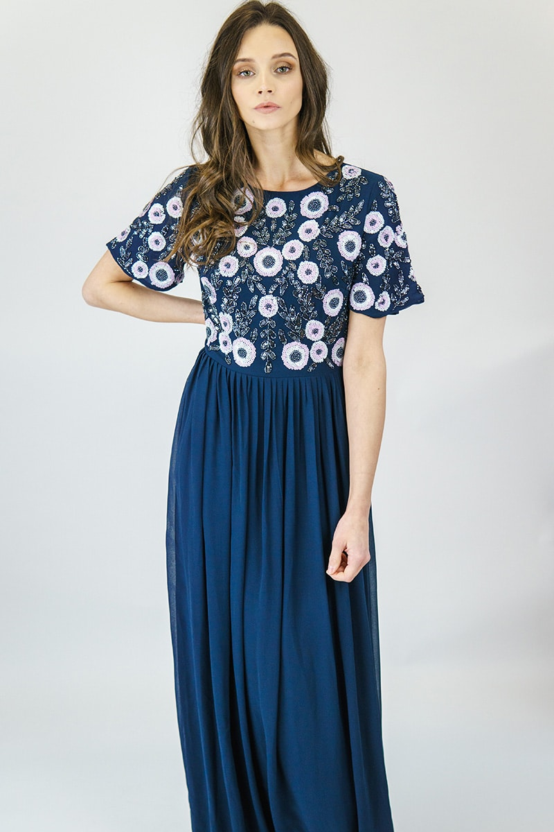 AngelEye Navy Embellished Gown | Alila Boutique