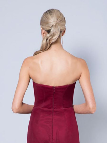 Alila-Strapless-fishtail-burgundy-debs-dress-Bariano-back