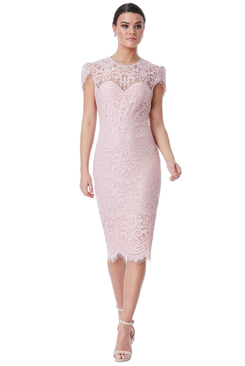 bd715e79a190 City Goddess Blush Lace Cap Sleeve Midi Dress | Alila Boutique