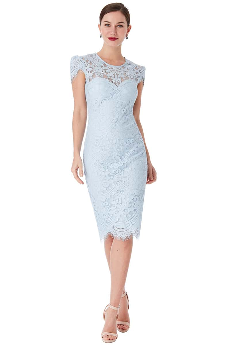 f1a20b59a5 City Goddess Powder Blue Lace Cap Sleeve Midi Dress