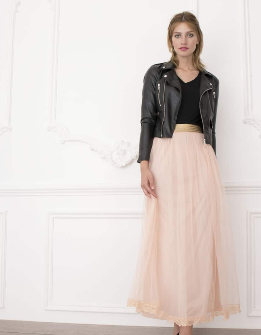 Alila-Bridesmaids-Tulle-Skirt-Peach-Danity