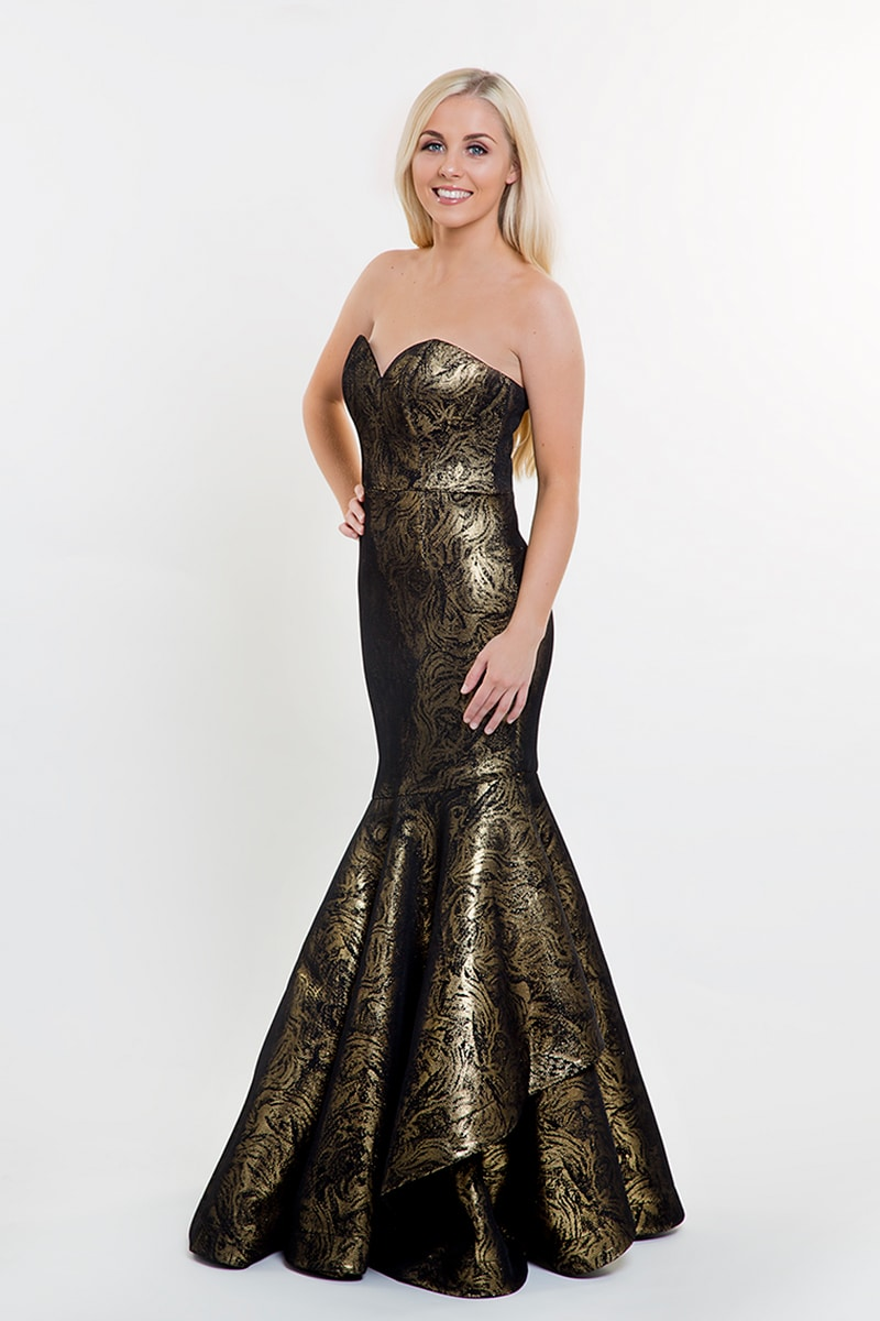 Bariano Black Amp Gold Strapless Fishtail Gown Alila Boutique