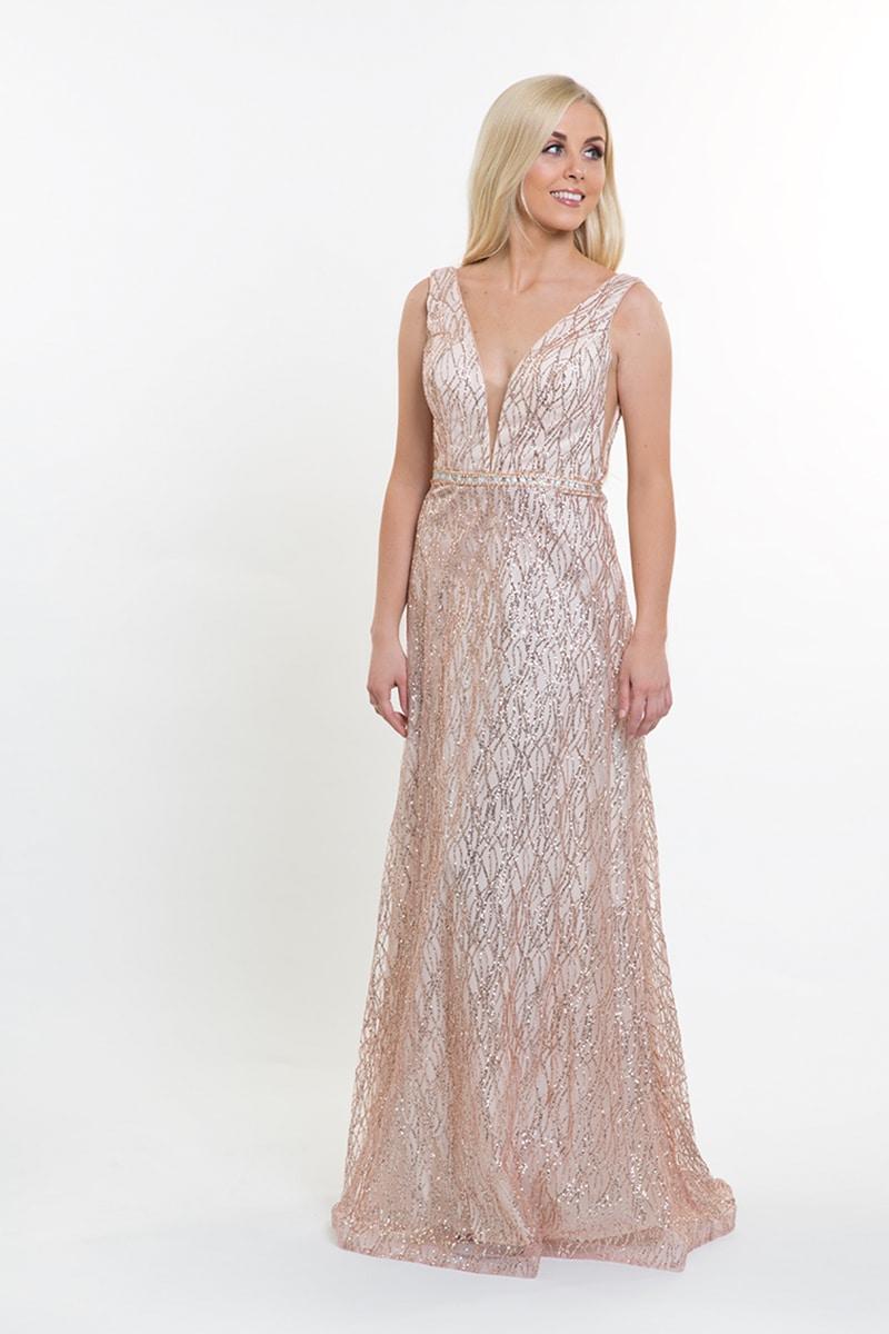 Alila-Champagne-rose-Gold-glitter-plunge-debs-dress-Mascara