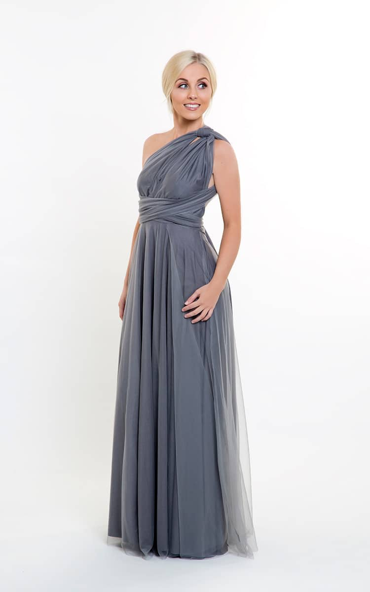 Alila Charcoal Grey Tulle Multiway Bridesmaid Dress Goddess By Nature